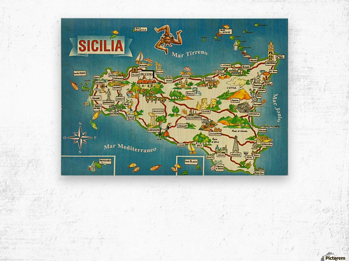 Daniele Pennisi vintage poster for Sicilia Wood print