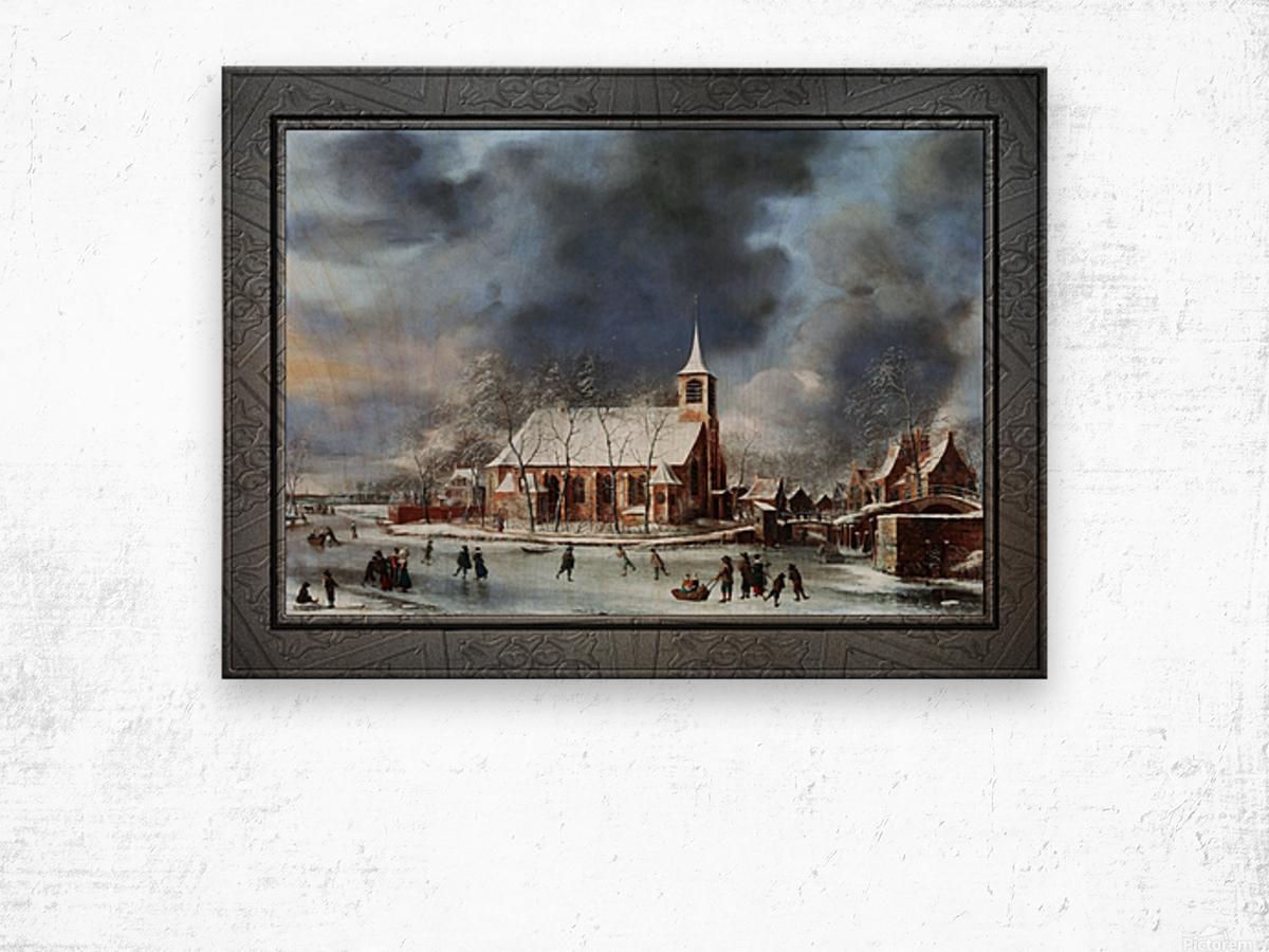 Gezicht op de Kerk te Sloten in de Winter by Jan Abrahamsz Beerstraaten Classical Fine Art Xzendor7 Old Masters Reproductions Wood print