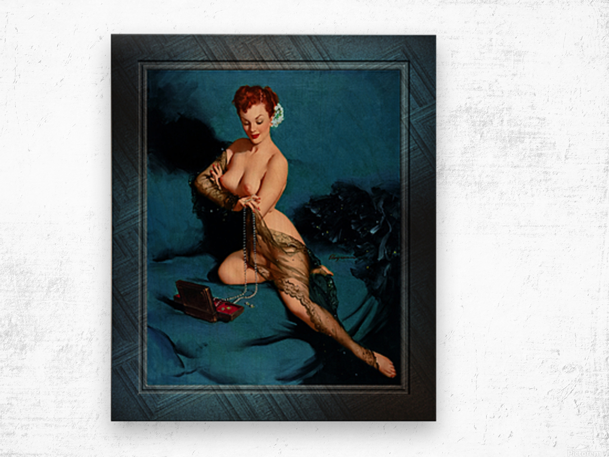 Fascination by American Painter Gil Elvgren Vintage Illustrations Xzendor7 Old Masters Reproductions Wood print