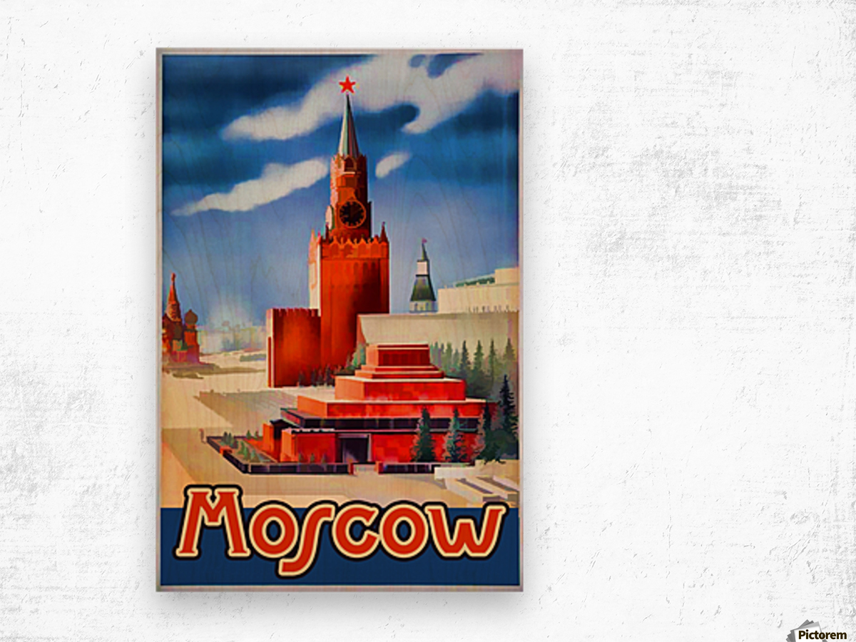 Imperial Airways travel poster for Moscow Wood print