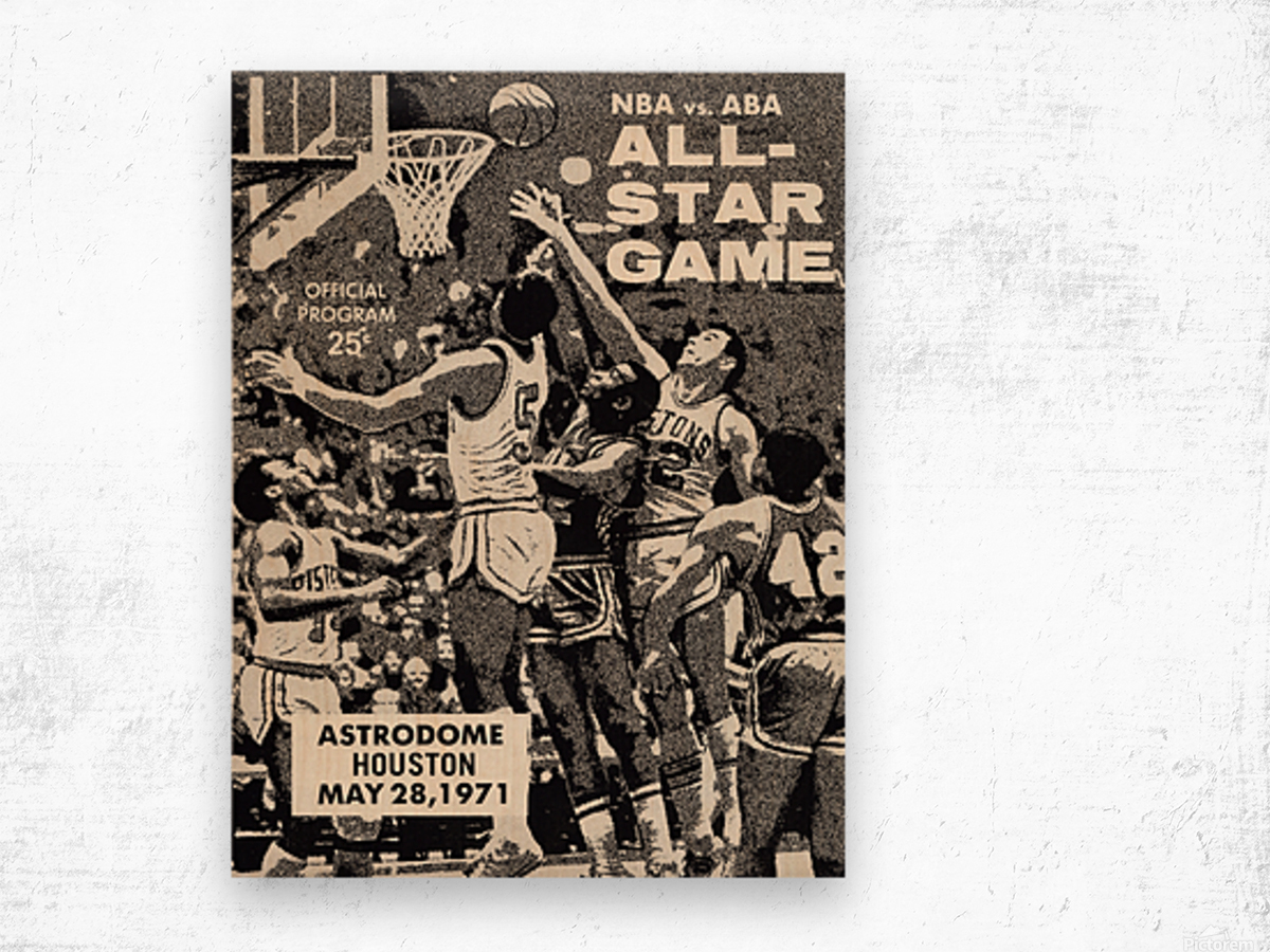 1971 NBA vs. ABA All-Star Game Program Art Wood print