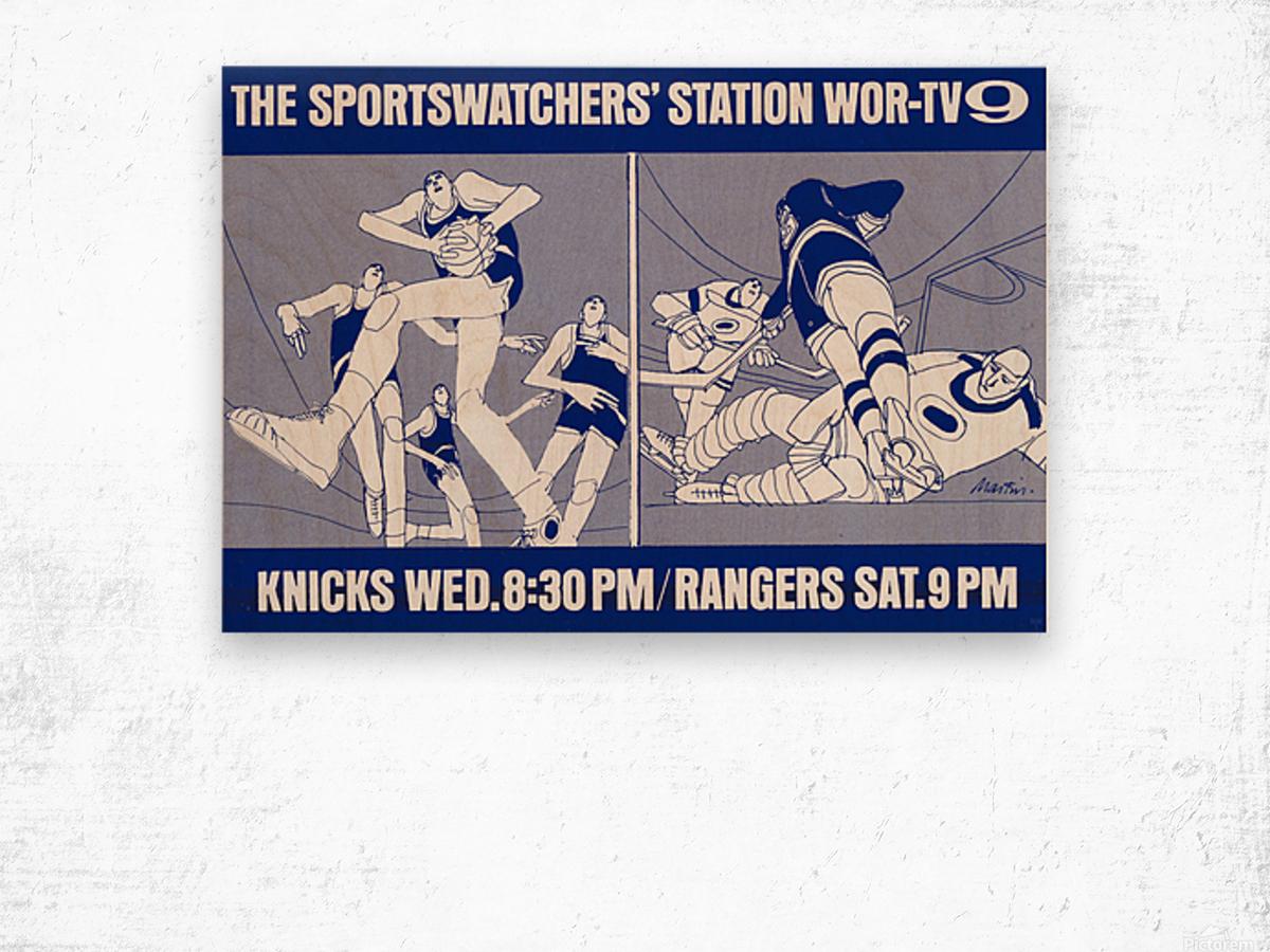 1967 New York Knicks and Rangers WOR TV9 Ad Wood print
