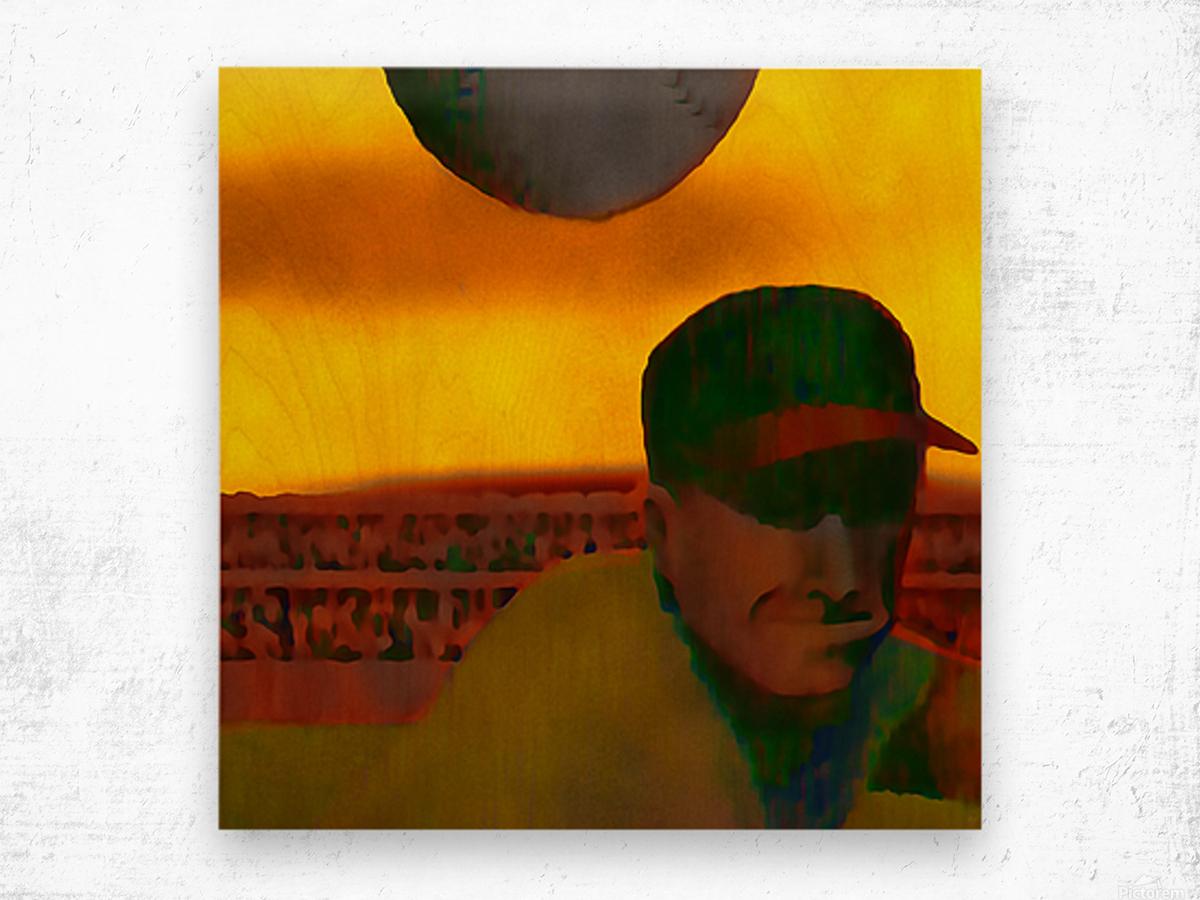 1963 Vintage Baseball Sunset Pitch Art Wood print