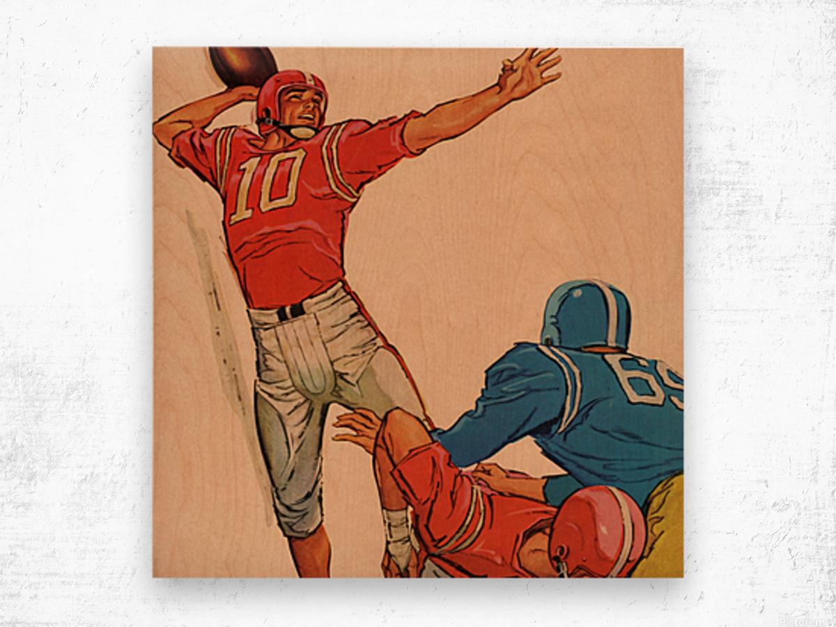 1959 Vintage Football Quarterback Art Wood print