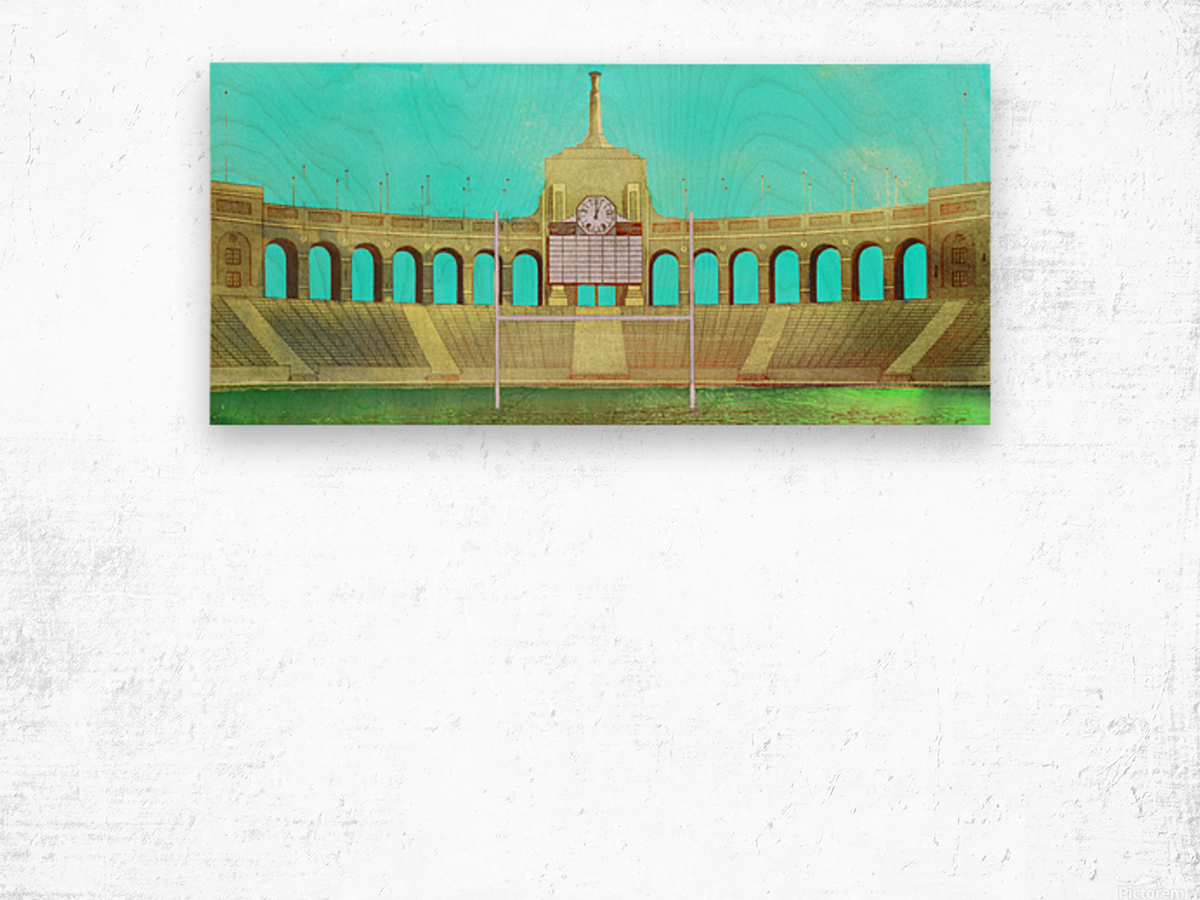 Vintage LA Coliseum Art  Wood print