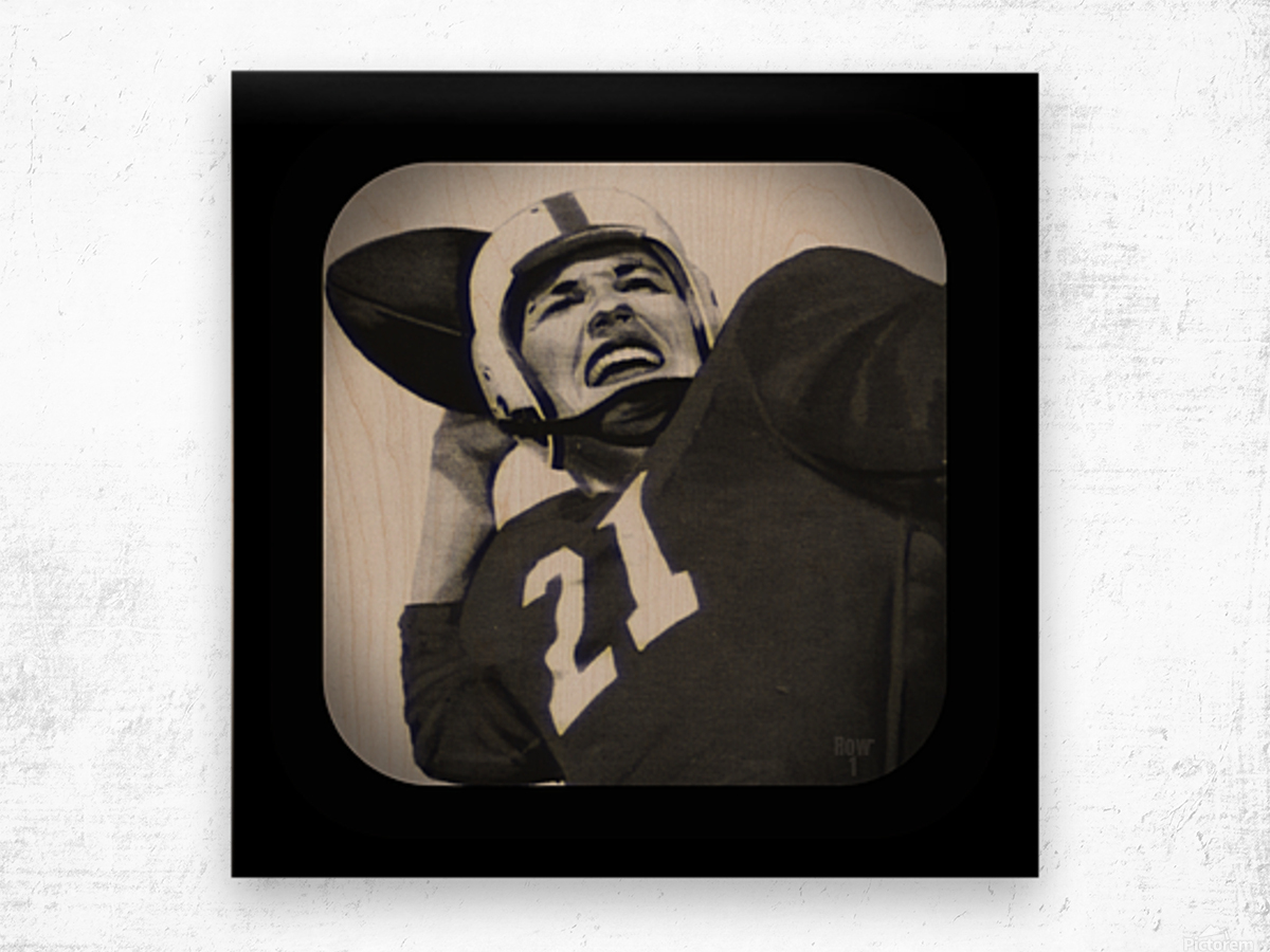1954 Vintage Television Set Football Quarterback Art Wood print