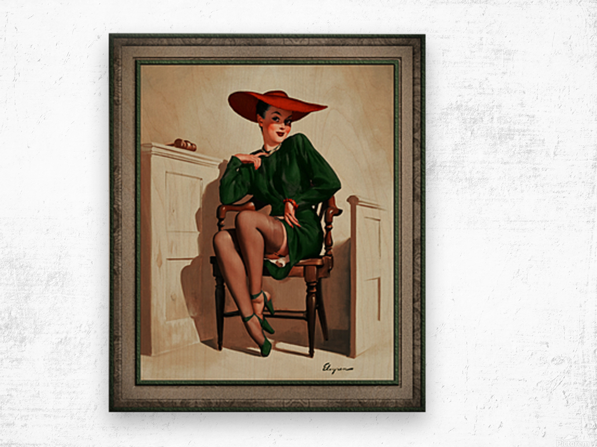 The Verdict Was by Gil Elvgren Vintage Pinup Illustration Xzendor7 Old Masters Reproductions Wood print