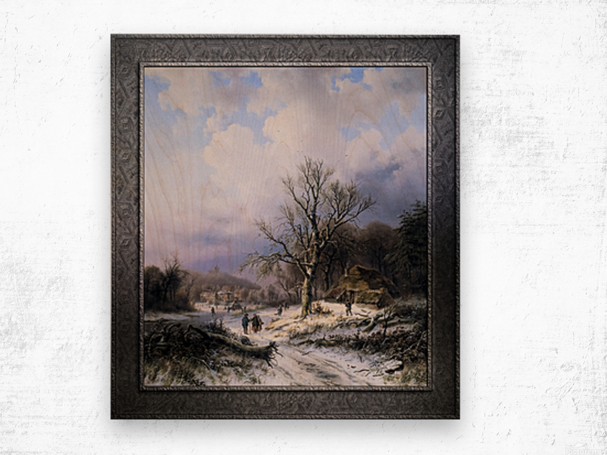 Snow Landscape by Alexander Joseph Daiwaille Classical Art Xzendor7 Old Masters Reproductions Wood print