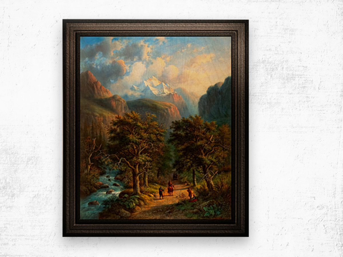 Landscape In The High Mountains by Alexander Joseph Daiwaille Classical Fine Art Xzendor7 Old Masters Reproductions Wood print