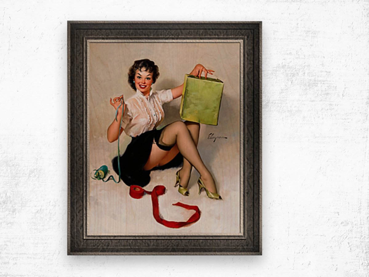 Neat Package by Gil Elvgren Vintage Pinup Illustration Xzendor7 Old Masters Reproductions Wood print