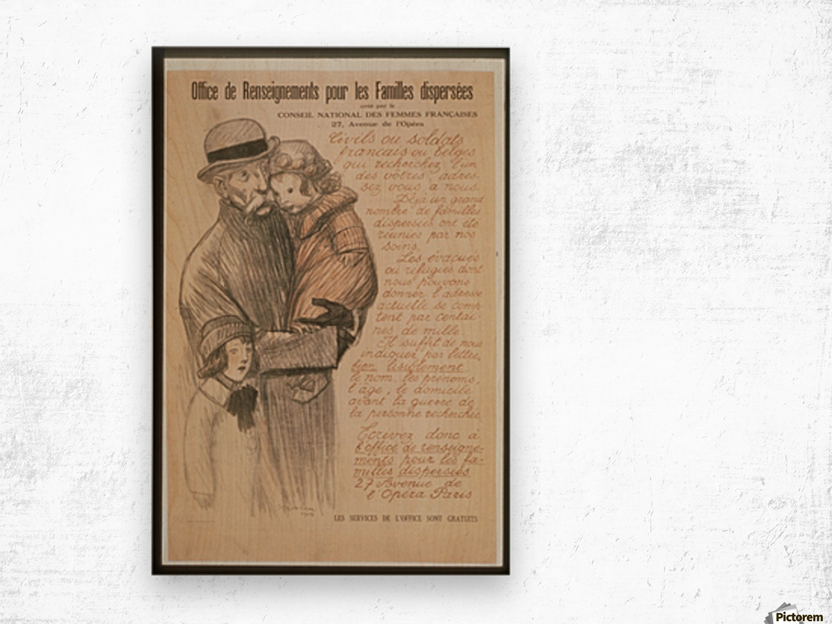 Vintage---Old-man-with-children Wood print