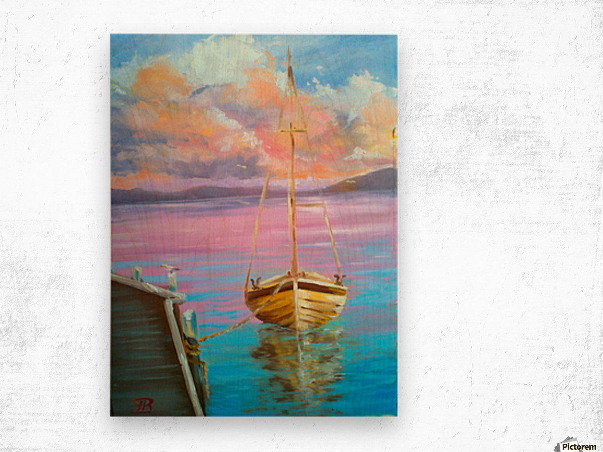 tranquility floating boat patiently waiting for new adventure. Wood print