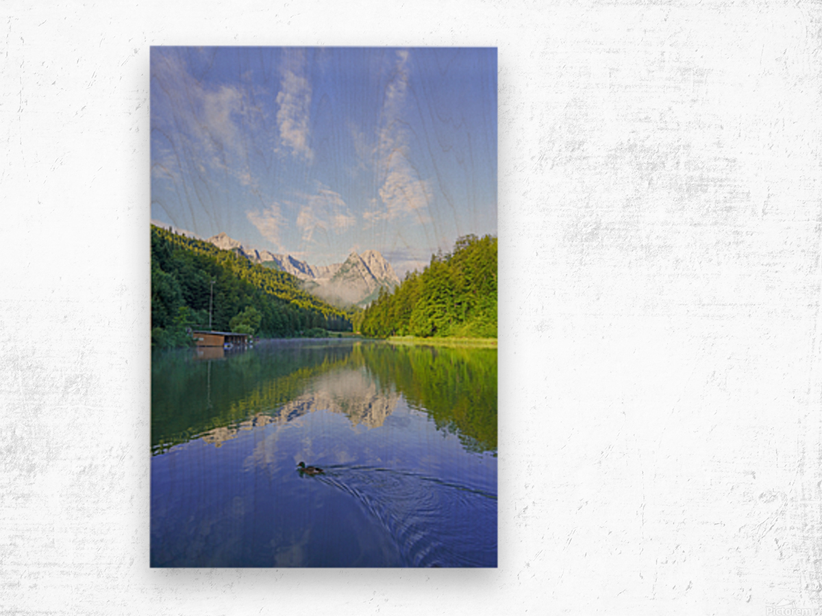 Blue Skies over the Riessersee in the Bavarian Alps near Garmisch Germany Wood print