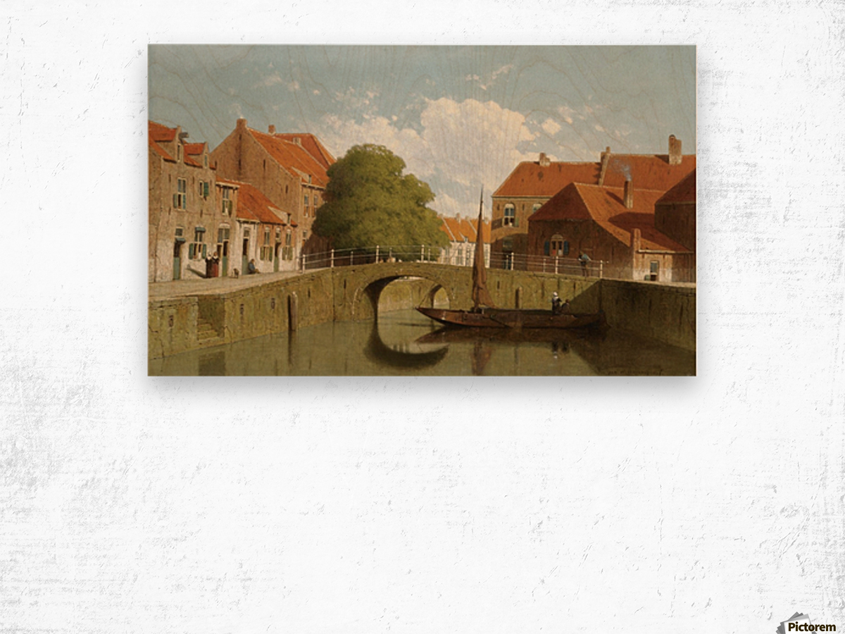 Along the canal in a Dutch town Wood print