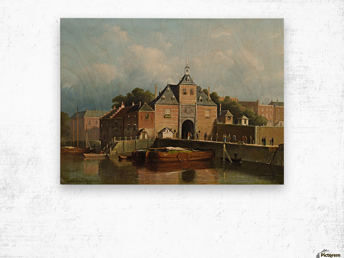 A view of a city gate Wood print