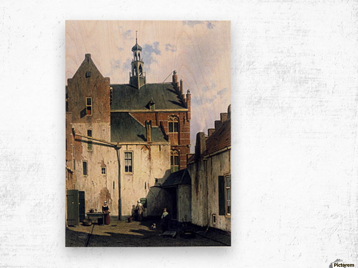 Culemborg, view at the westerly facade of the town hall at Wagenweg Wood print