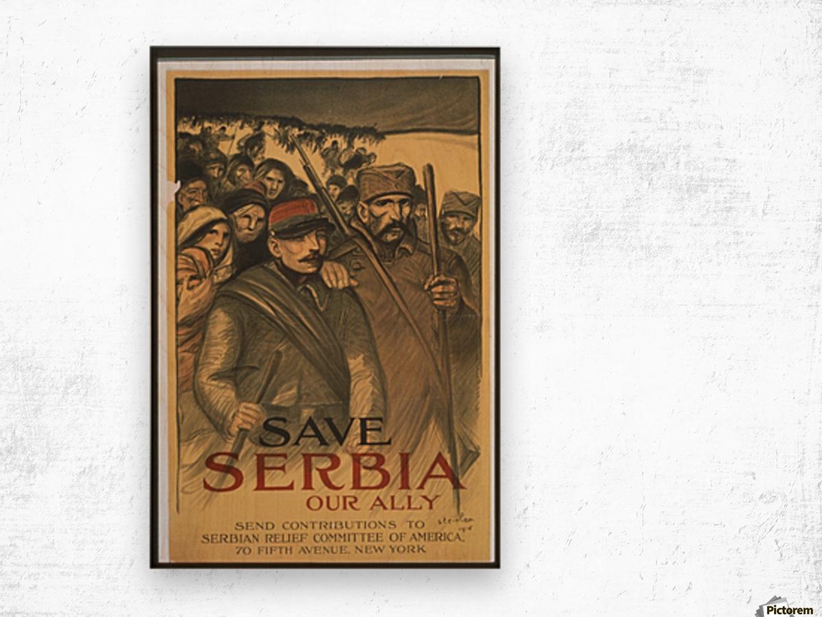 Vintage---Save-Serbia Wood print