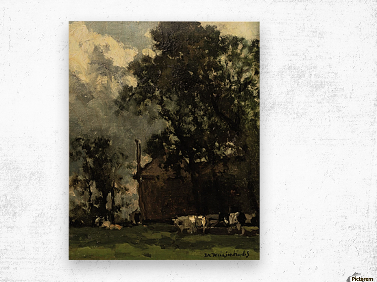 Cows in a Sunny Landscape Wood print