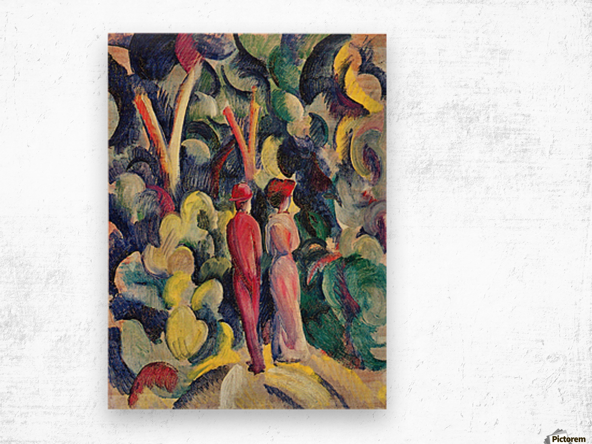 Couple in the forest by August Macke Wood print