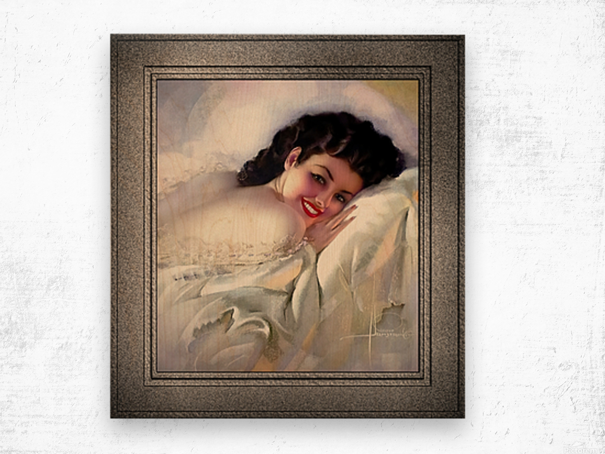 Sweet Dreams by Rolf Armstrong Vintage Illustration Xzendor7 Art Reproductions Wood print