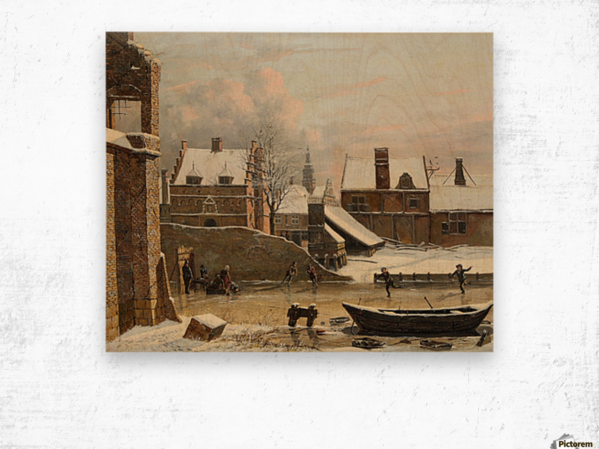 View of a City in Winter with Ice Skaters Wood print