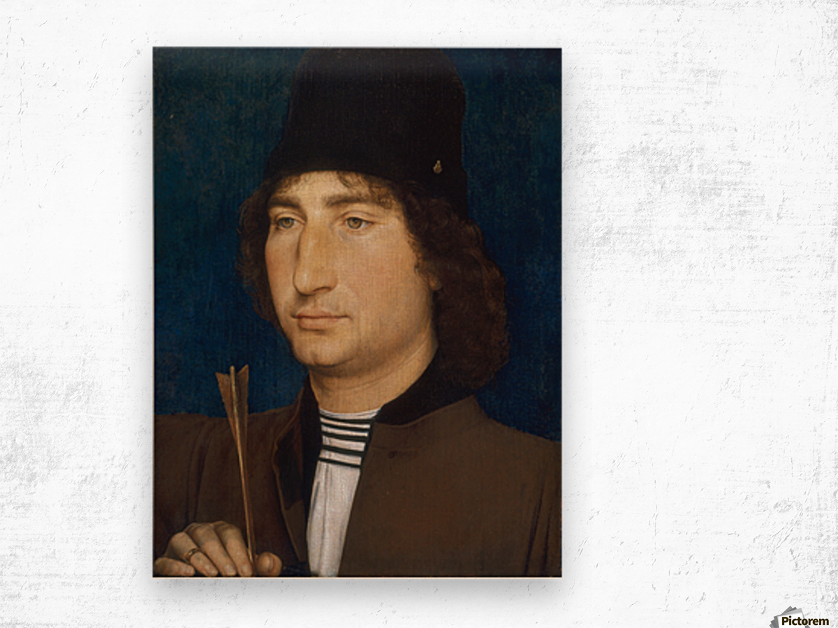 Portrait of a man with an arrow Wood print