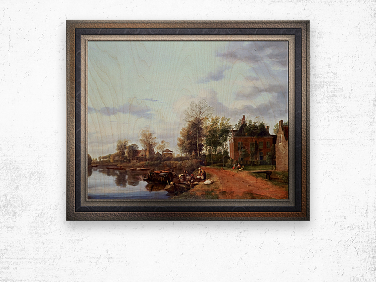 A Country House on the Vliet near Delft by Jan van der Heyden Classical Fine Art Xzendor7 Old Masters Reproductions Wood print