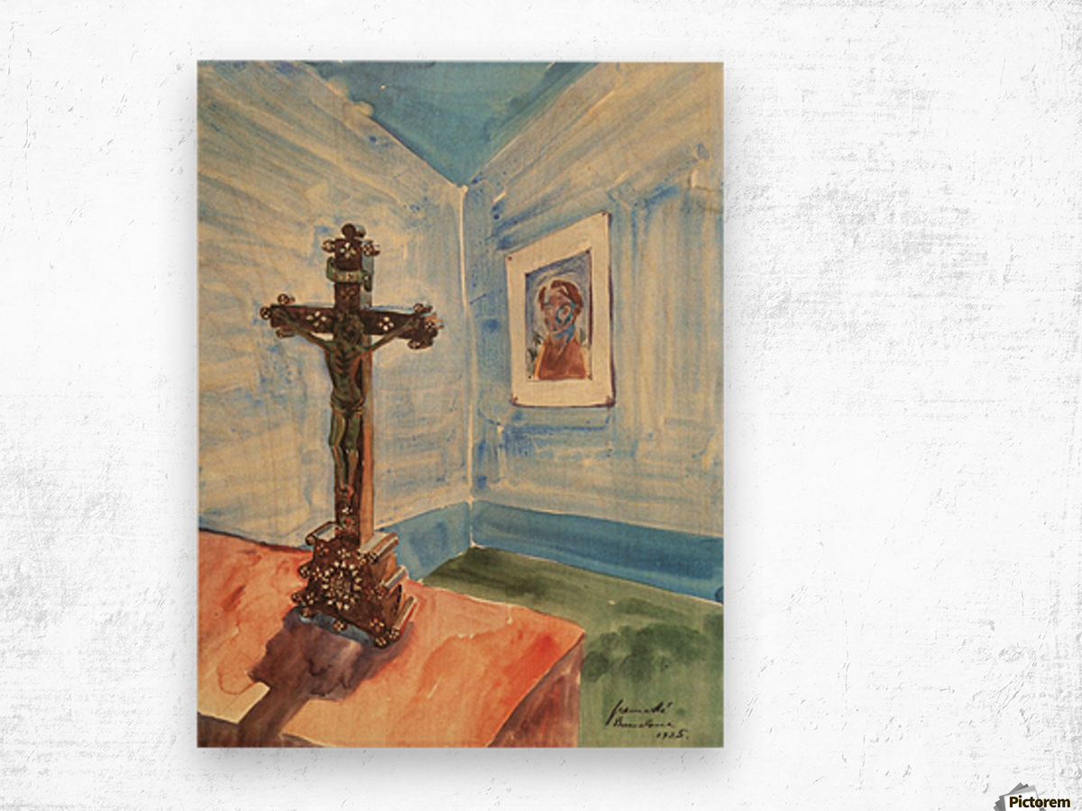 Crucifix in the room by Walter Gramatte Wood print
