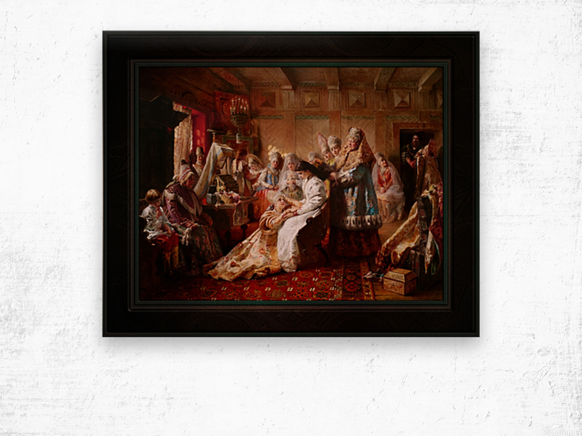 The Russian Brides Attire by Konstantin Makovsky Classical Fine Art Xzendor7 Old Masters Reproductions Wood print