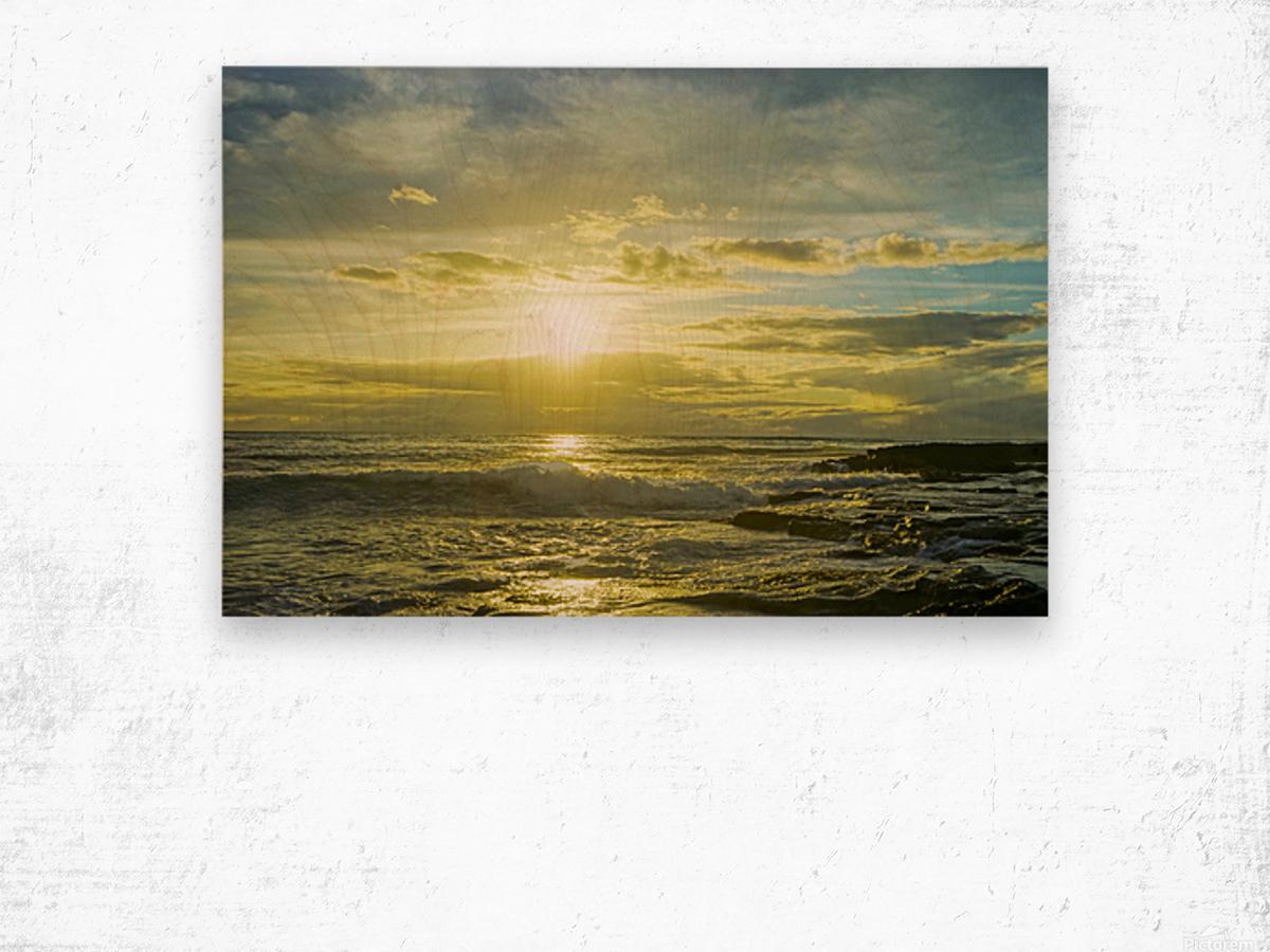 The Sun Sets at the Tidal Pools Hawaii Wood print