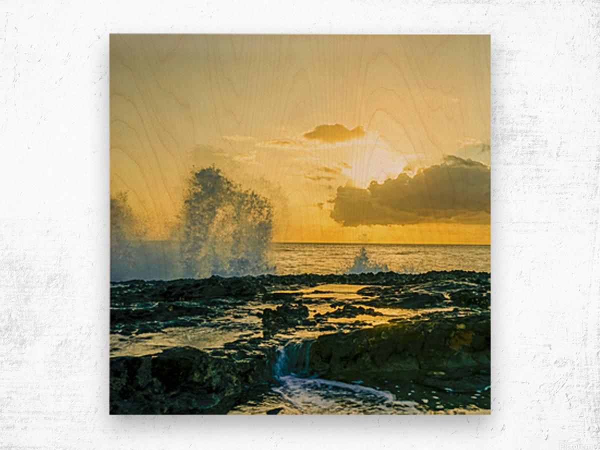Waves Swirl at the Seaside Hawaii - Square Wood print