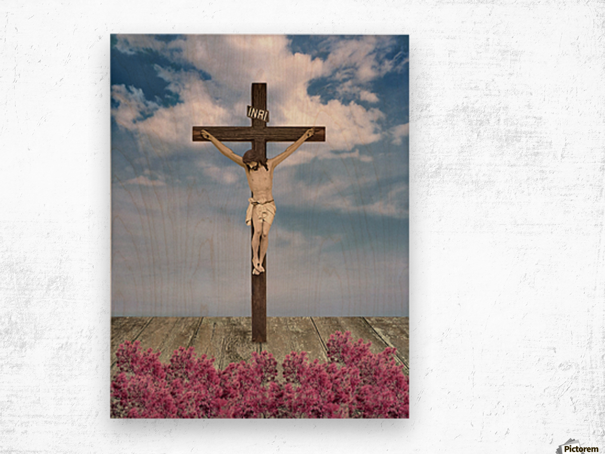 Jesus on the Cross Illustration Wood print