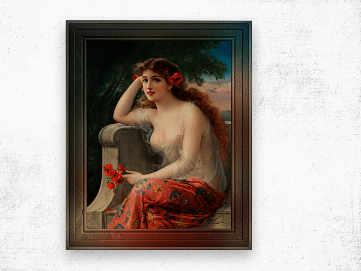 Girl with a Poppy byEmile Vernon Wall Decor Xzendor7 Old Masters Art Reproductions Wood print