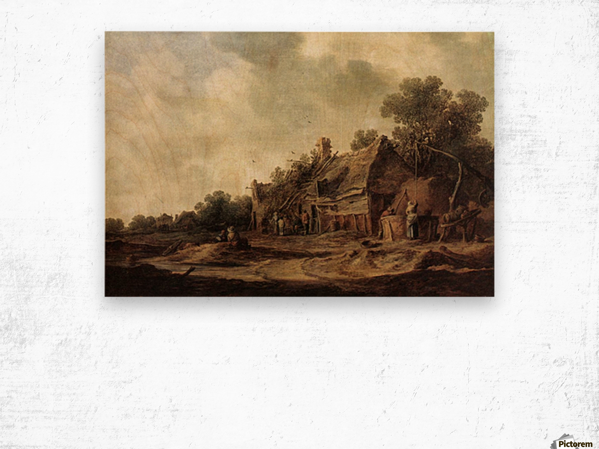 Peasant Huts with Sweep Well1633 Wood print