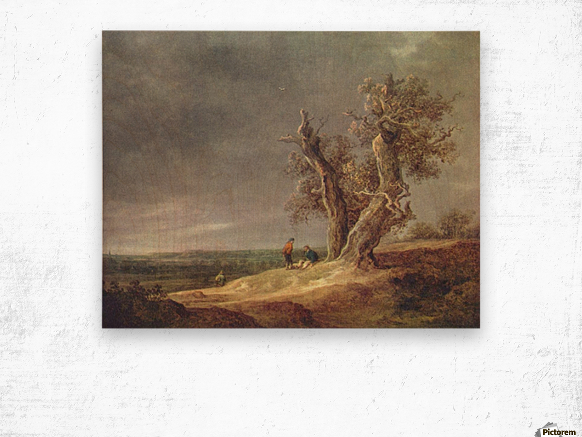 People by the tree Wood print