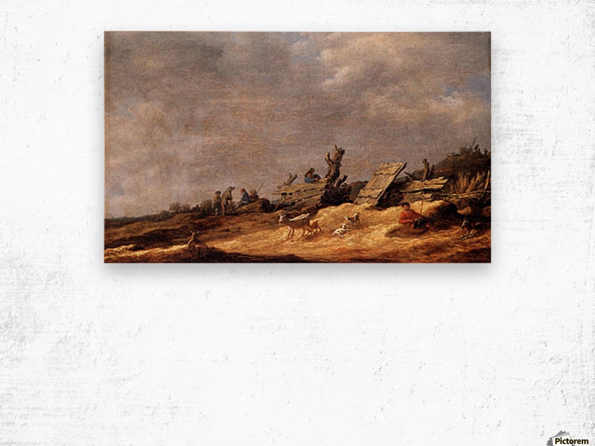 Dune Landscape with animals Wood print