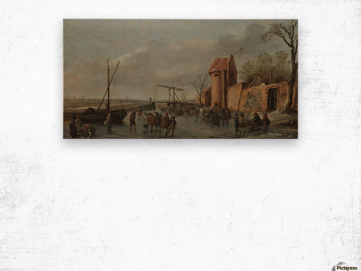 Peaseants by the river Wood print