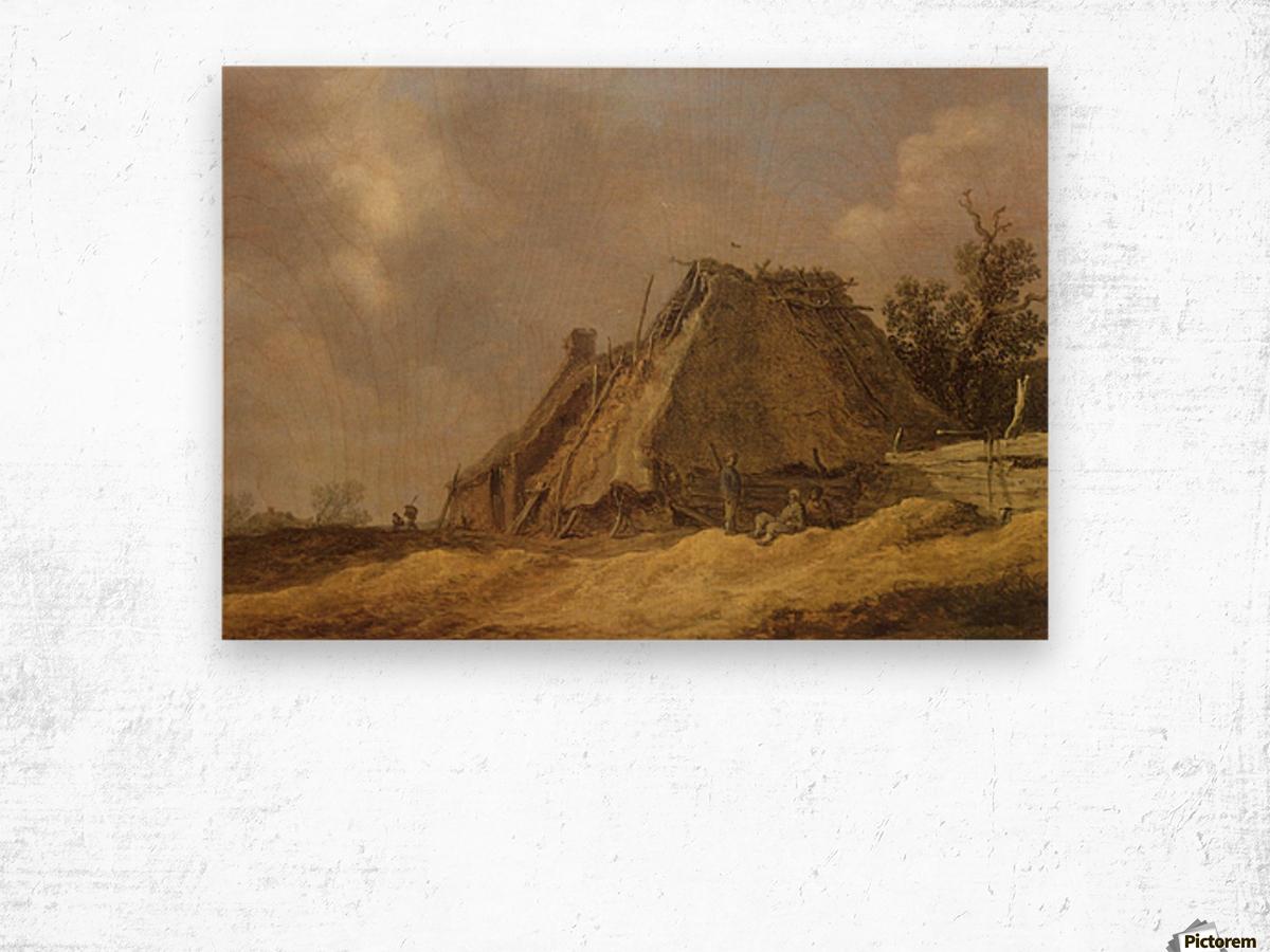 Farmhouses with peasants Impression sur bois
