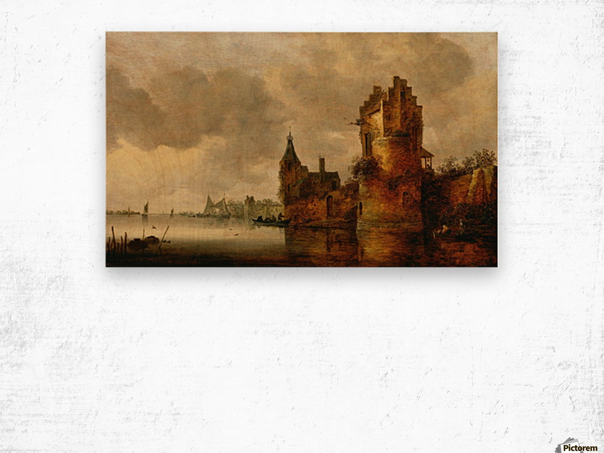 Estuary with Round Tower Wood print