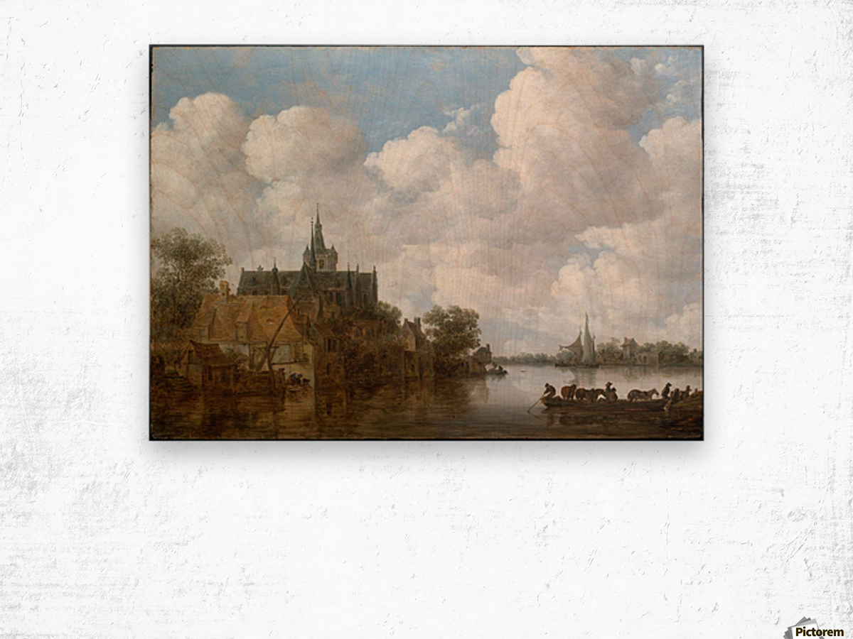 Landscape with a Ferry and a Church Wood print
