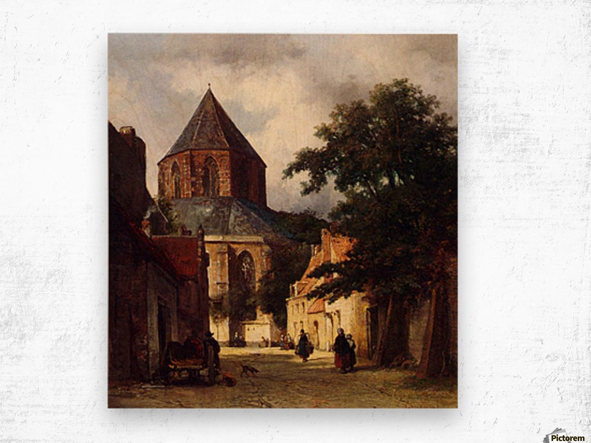 Street with Church Wood print