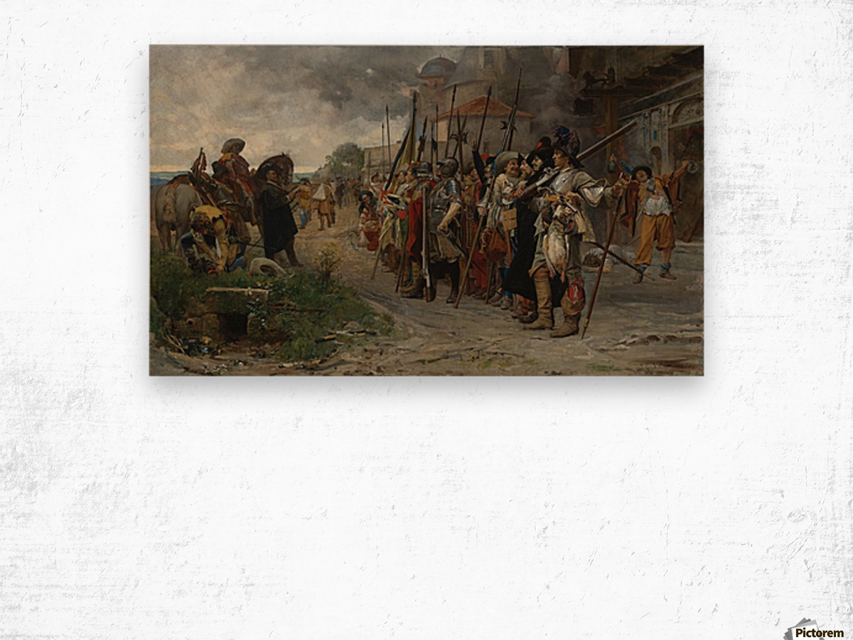 Roll call after the pillage 1866 Wood print