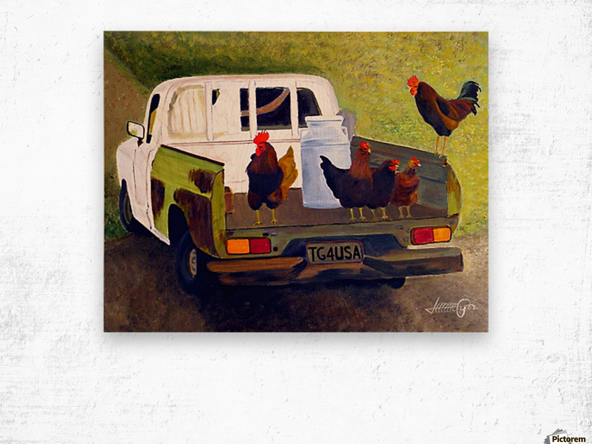 Hitching a Ride to Town Wood print