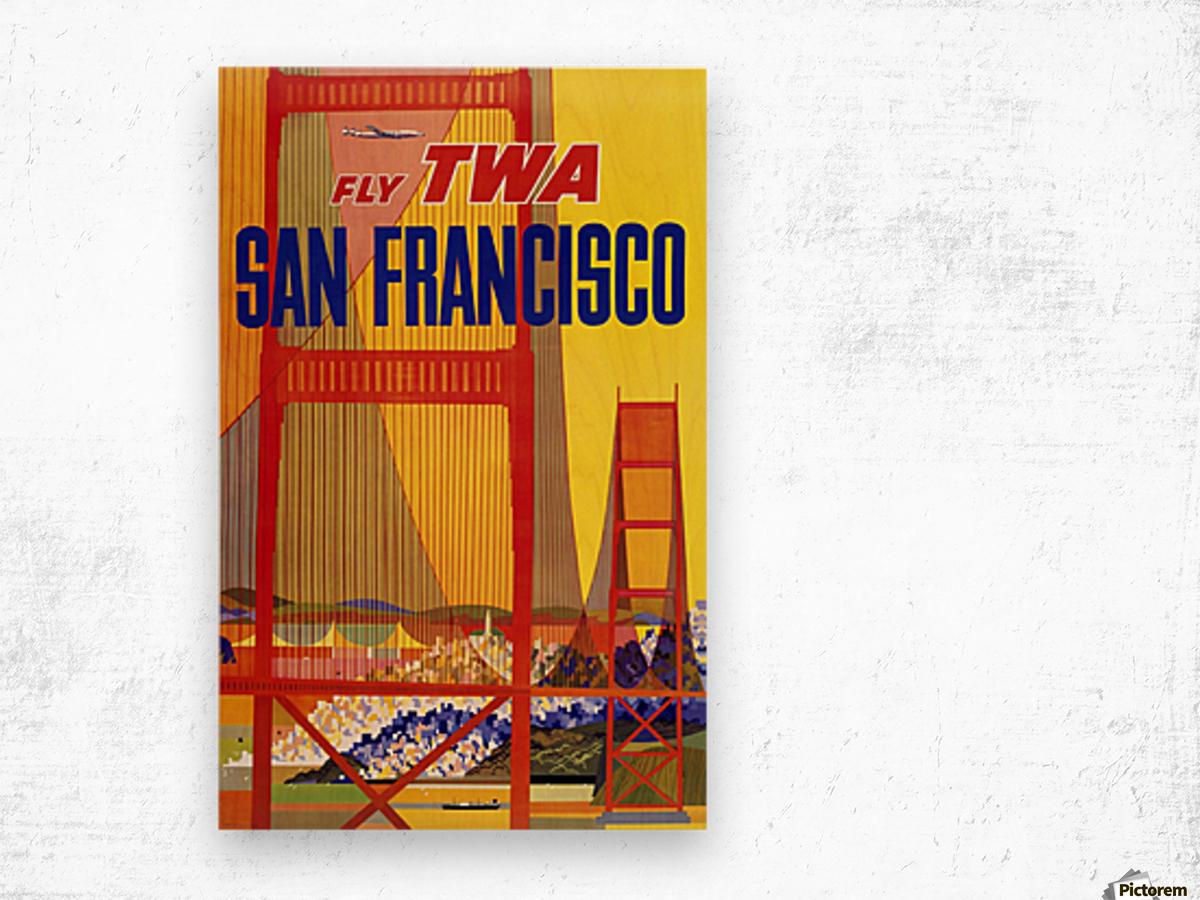 Fly TWA San Francisco poster Wood print