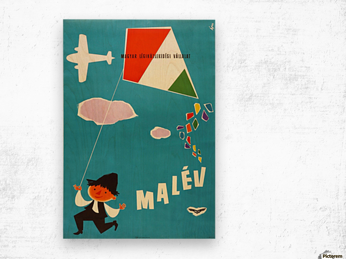 Malev Hungarian Airlines poster Wood print
