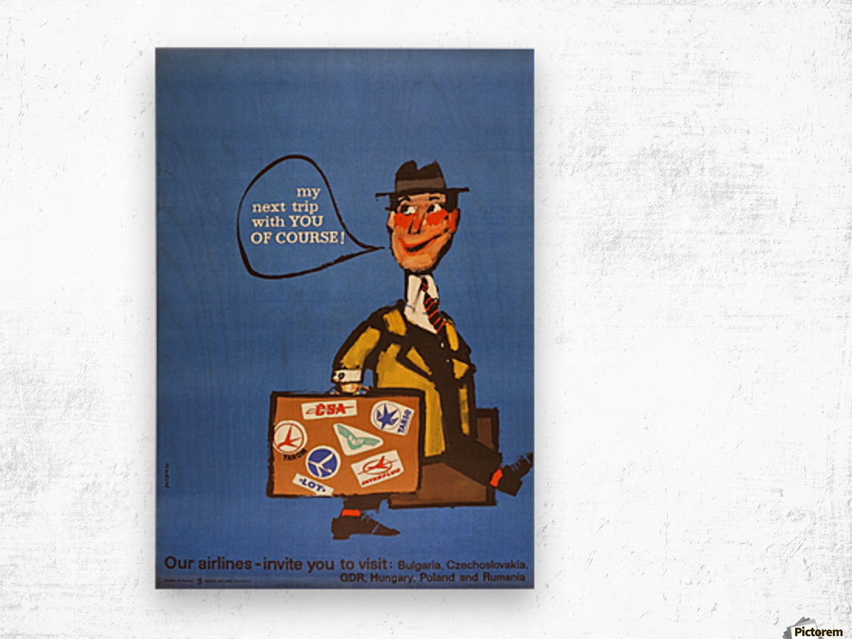 Vintage Interflug Poster Wood print