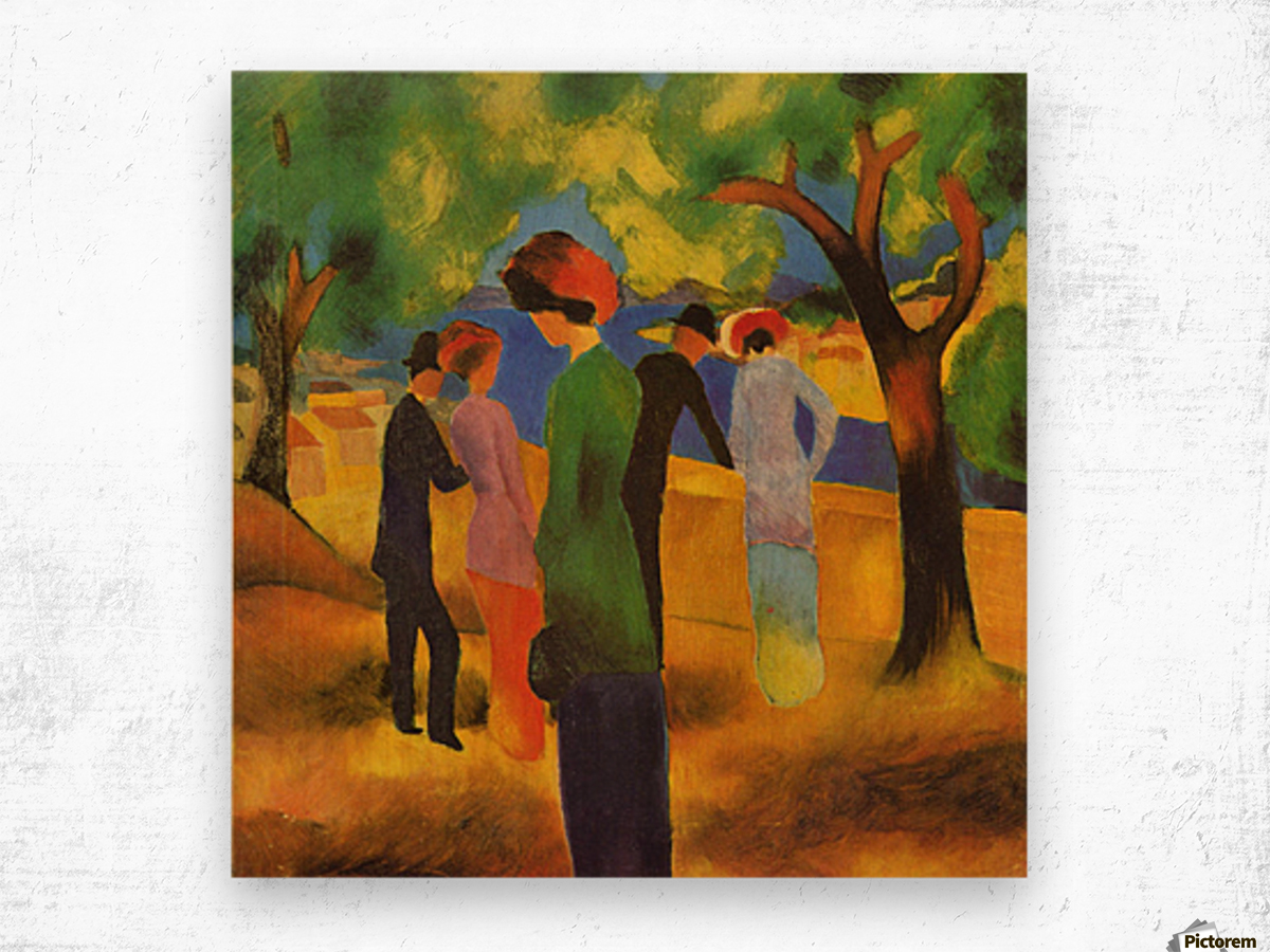 Lady in a green jacket by August Macke Wood print