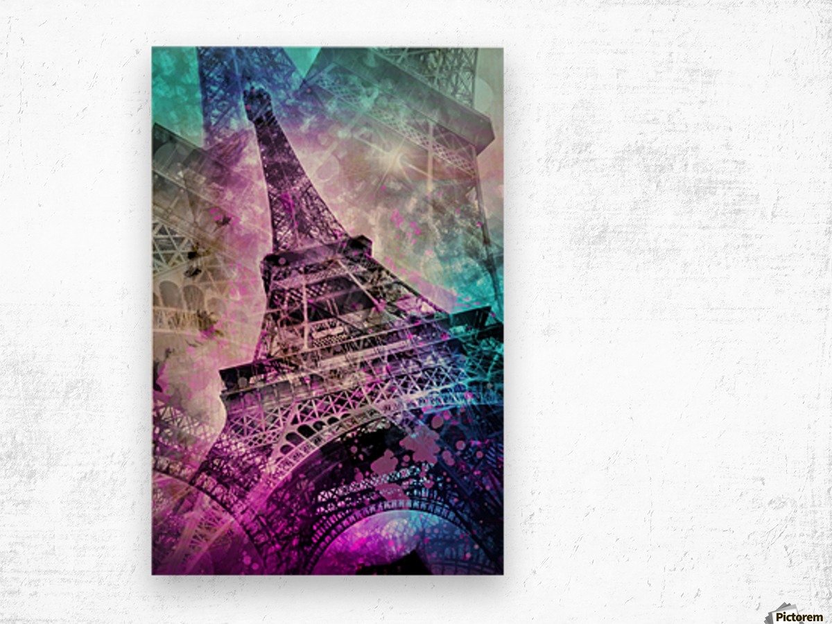 Pop Art Eiffel Tower Wood print