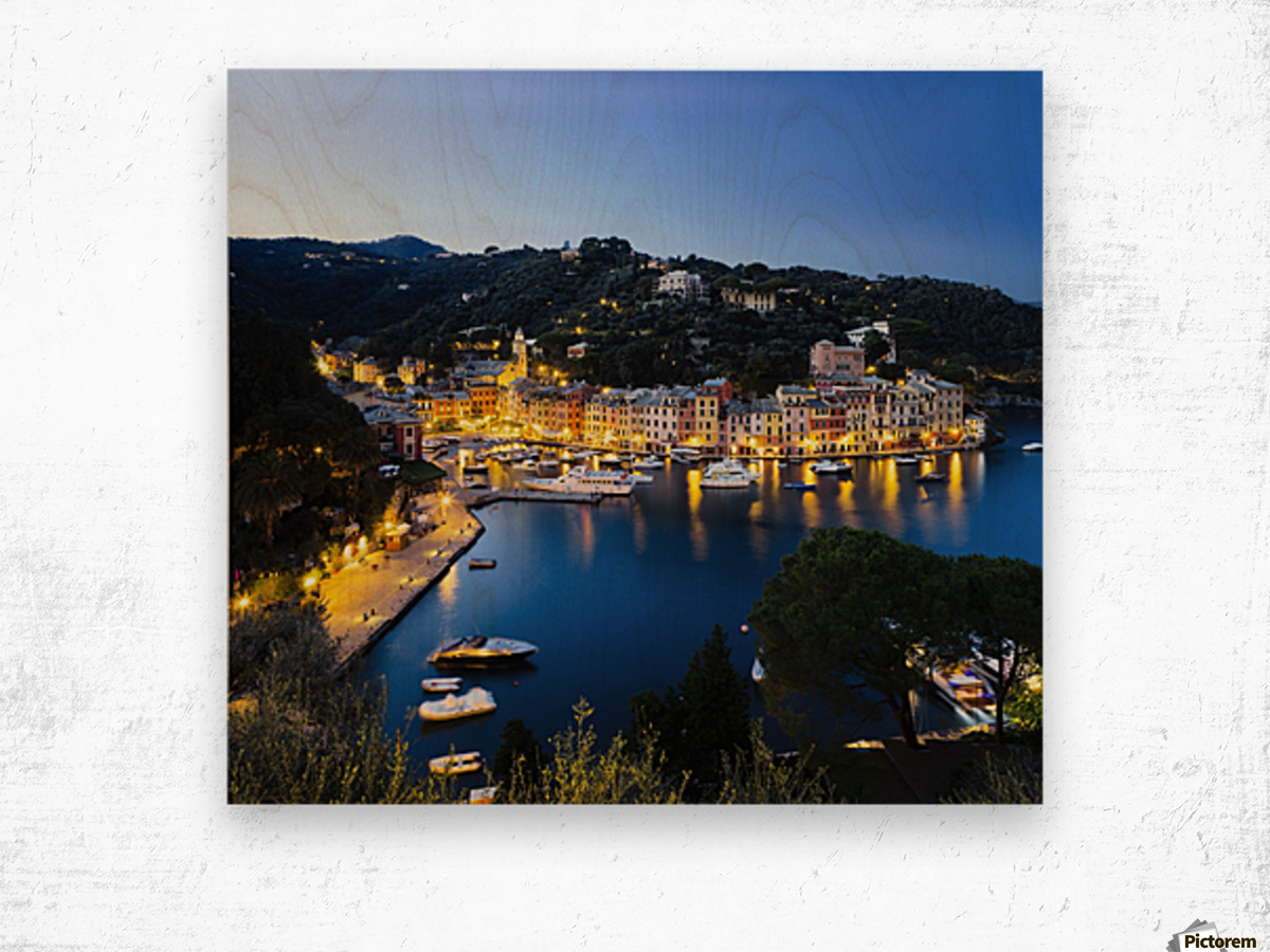 View of the harbour at dusk; Portofino, Liguria, Italy Wood print