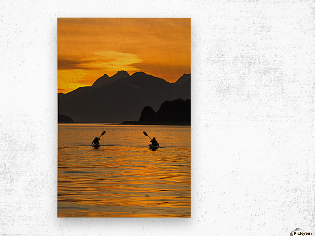 Sea Kayaking on a sublime evening in Lynn Canal near Eagle Beach State Recreation Area, Juneau. Alaska. Chilkat Mountains beyond in the distance. Wood print